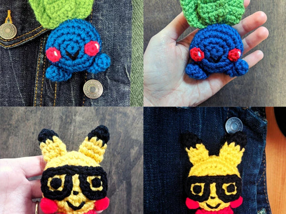 Crochet Pattern: Pikachu & Oddish Pokemon Pins