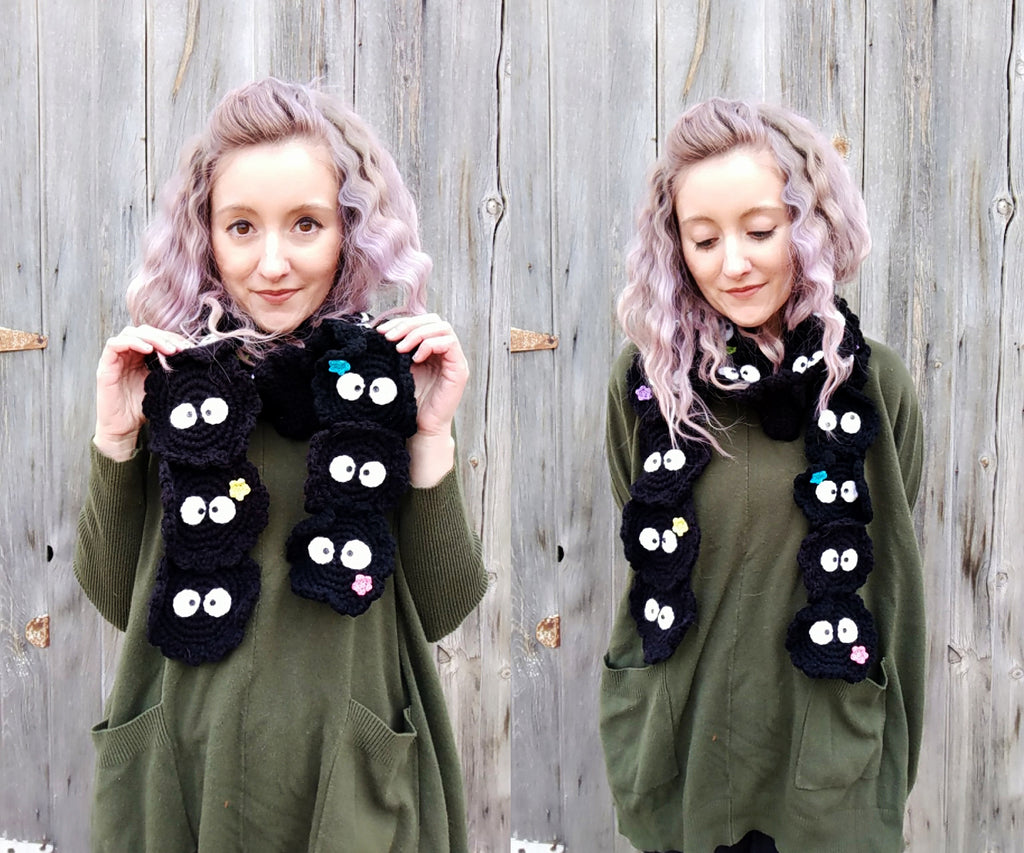 New Crochet Patterns: susuwatari scarf and amigurumi kitty