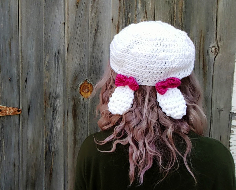 New Crochet Pattern: Bunny Ears Beret (with bows!)