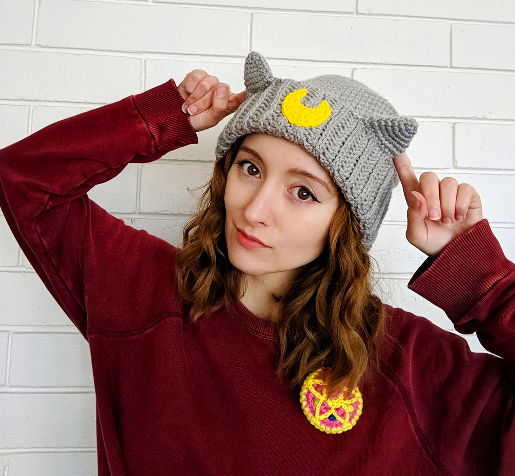 Moon Cat Beanie Crochet Pattern