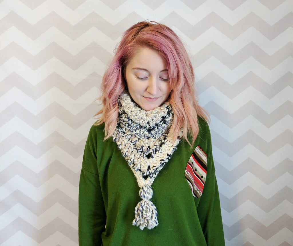 Super bulky crochet triangle scarf (with tassel!)