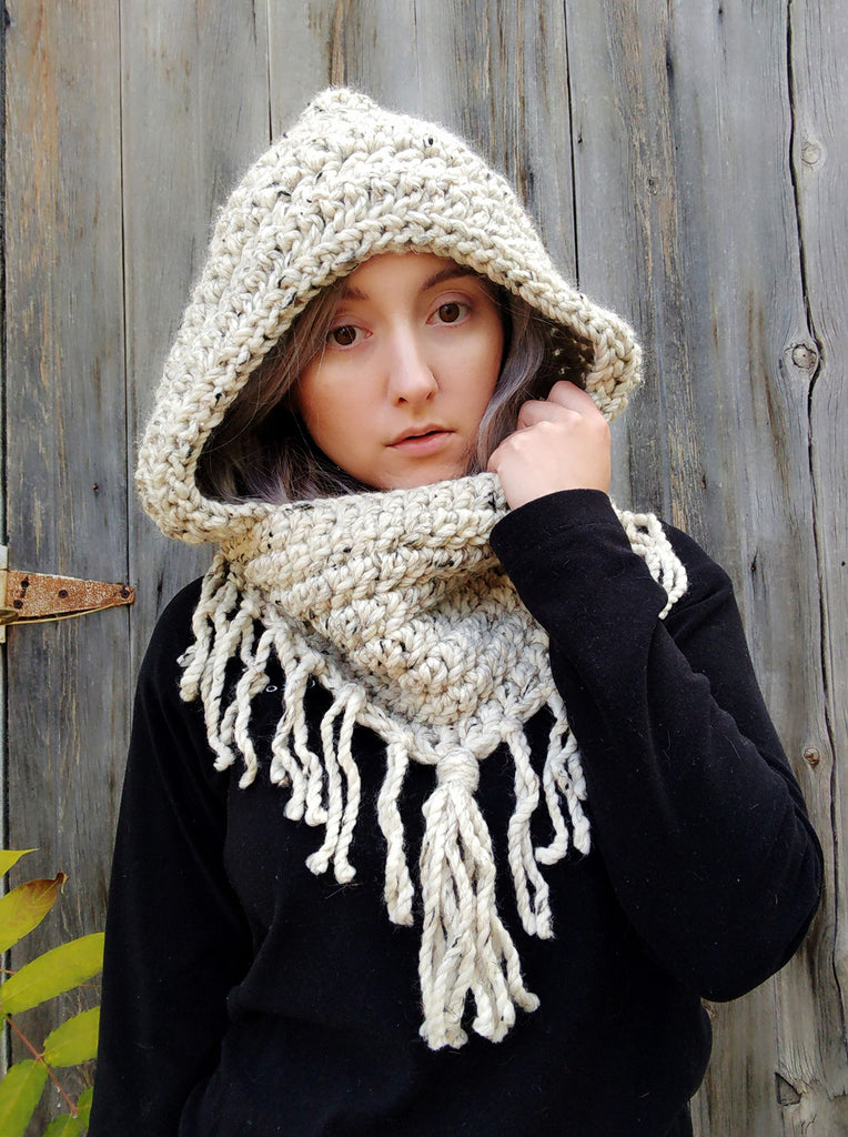New Crochet Pattern: Hooded Cowl with Fringe