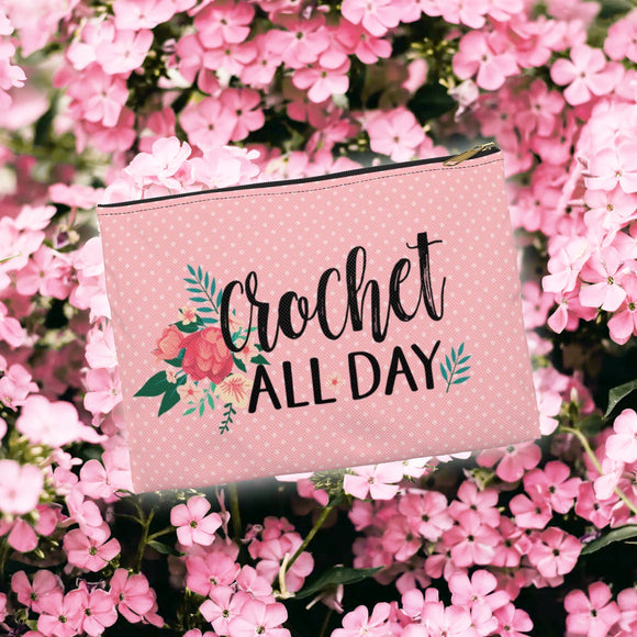 Floral Crochet All Day Zip Pouch