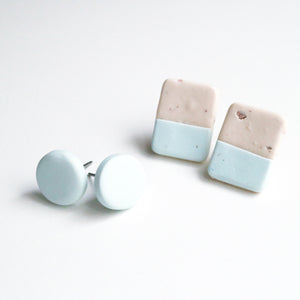 Stud pack • Oat milk and pale blue • pack of 2