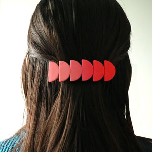 Semi-circle stack hair barrette • Strawberry Daiquiri