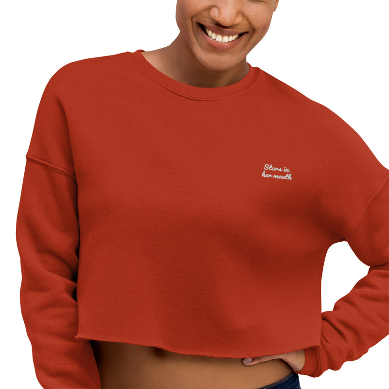 Stars in Her Mouth Crop Embroidered Sweatshirt