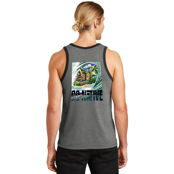 Go Native Surf Art Shirt - Grey Tank Top With Black Trim