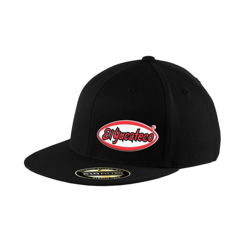 Cool Black Flexfit Hat with the El Yucateco logo on white background.