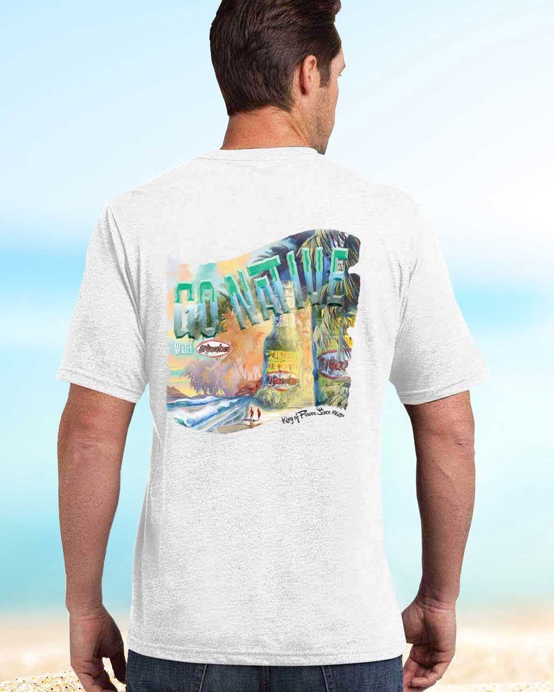 Vintage inspired beach tee shirt by El Yucateco featuring a beach scene and giant hot sauce bottles