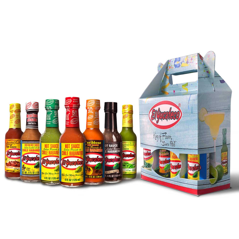 Gift ideas for him and present ideas for her - The El Yucateco Hot Sauce Gift Box including hot sauces and a beautiful gift box
