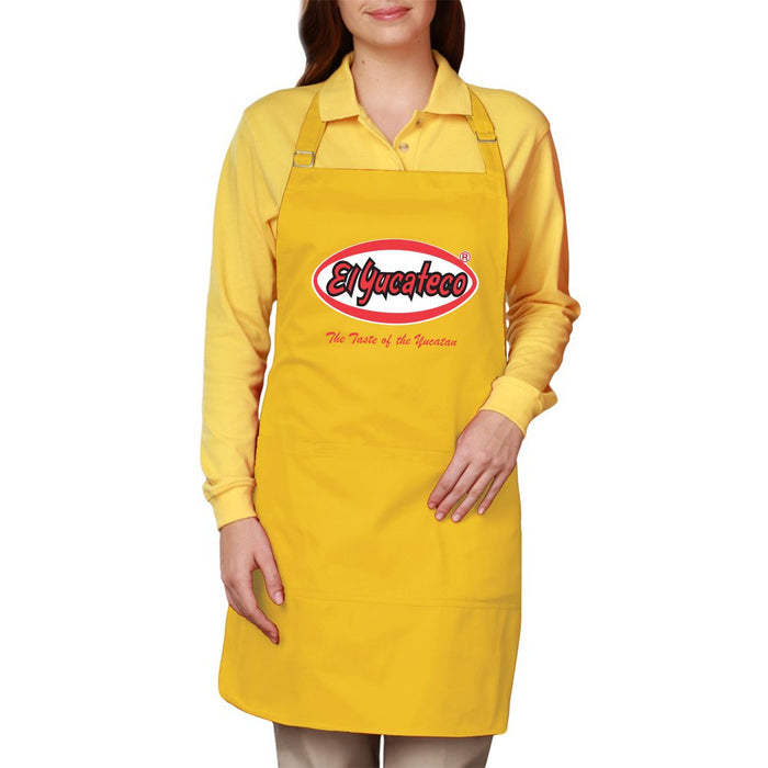 "Yellow Apron for cooking and grilling by El Yucateco Hot Sauce featuring the phrase ""The Taste of the Yucatan"""