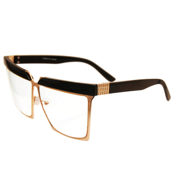 Black Vintage Square Glasses with Gold Detail