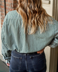 oversized striped button down