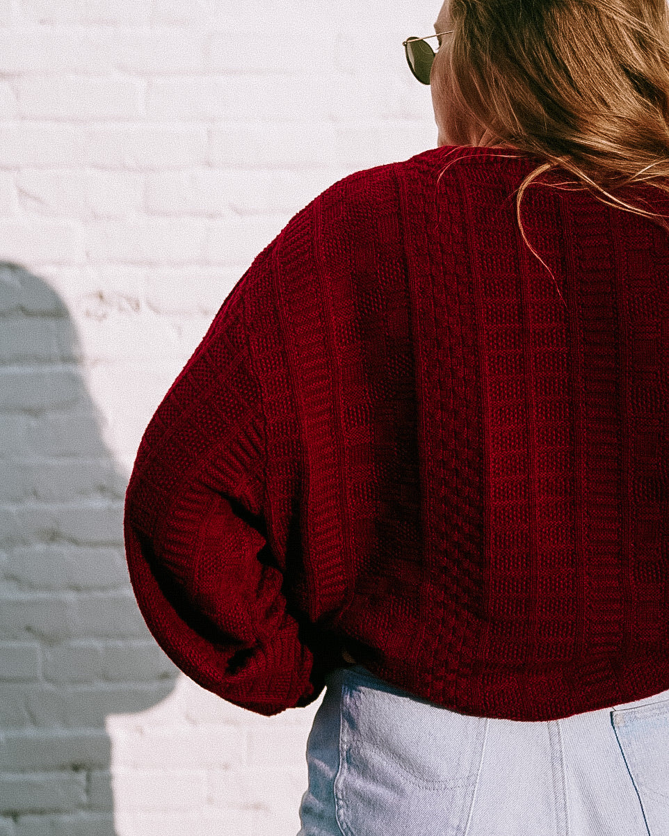 Vintage Maroon Patterned Oversized Sweater