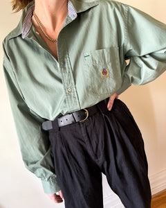 Vintage Tommy Hilfiger Pale Green Button Down