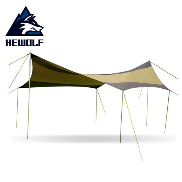 Hewolf Silver Coating Anti UV Sun Shelter 5-10 Person Picnic Beach Tent Pergola Awning Canopy Camping Sunshelter 5x5m (Brown Yellow 5x5x2.5m)