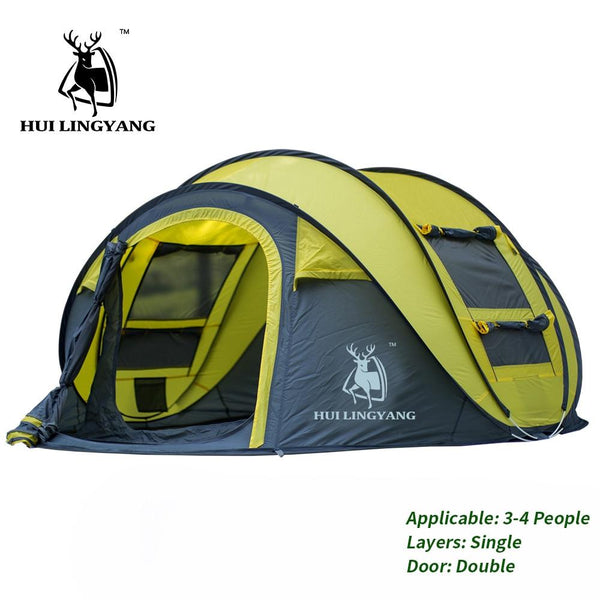 HUI LINGYANG Throw pop up tent 4-6 Person outdoor automatic tents Double Layers large family Tent waterproof camping hiking tent