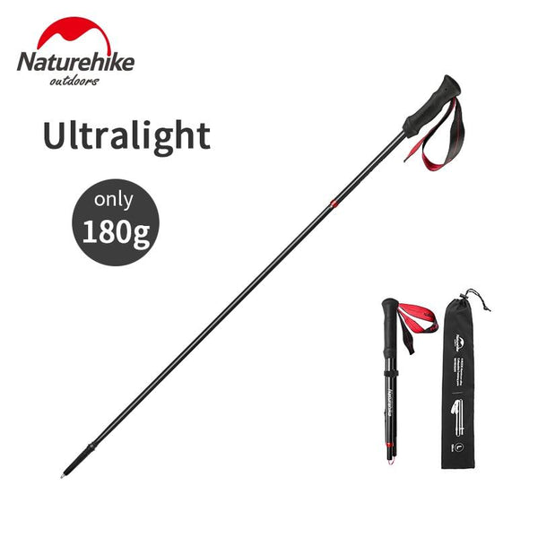 Naturehike Portable Walking Stick Ultralight 4-Section Folding Carbon Fiber Aluminum Alloy Trekking Pole Hiking Equipment
