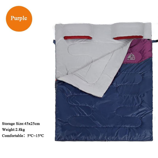 Outdoor Double Sleeping Bag Enlarge Winproof Warm Splicable Envelope Four Seasons Camping Hiking Portable Cotton Sleeping Bags