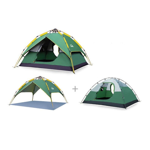 Hewolf 3-4 person Camping Tent Automatic Waterproof Double Layer Tents Ultralight Outdoor Hiking Picnic Quick Opening Tent