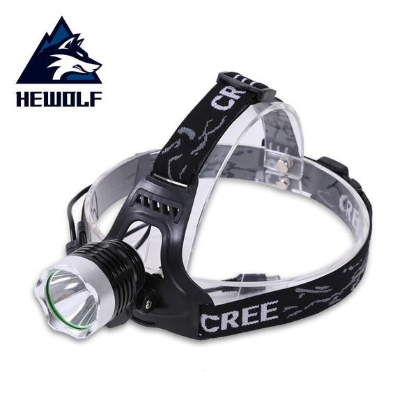 Hewolf Rechargeable LED headlamp Waterproof LED headlight LED Rotary zoom 3 modes head lamp Built-in lithium battery (Black)