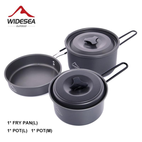 Widesea Camping Equipment Tourism Supplies Hike Utensils Tourist Kettle For Stove Cooking Pot Frying Pan 3pcs/ Cookware Set