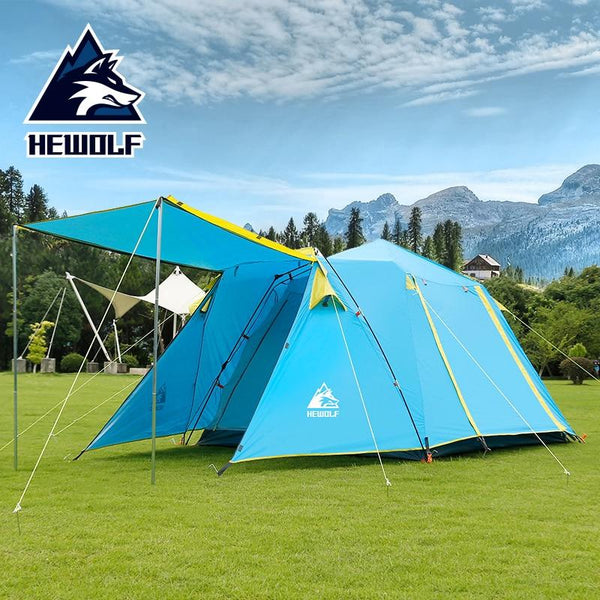 Hewolf Automatic 4-5 Person one room one hall Double Layer Camp Tent  Portable Outdoor Hiking Beach Camping Tents