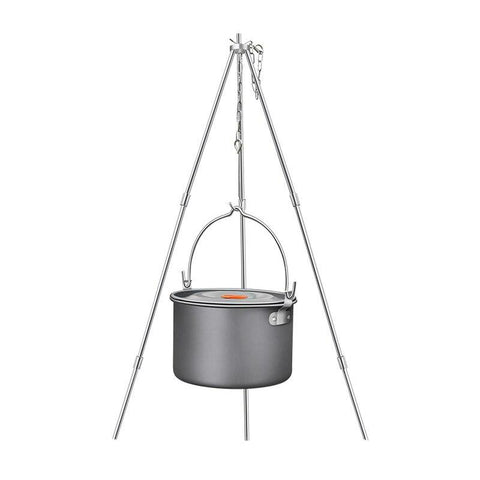 Hewolf 4L Camping Cookware Outdoor Tableware Tripod Hanging Pot  Portable 4-6 Persons Picnic Cooking Set Barbecue