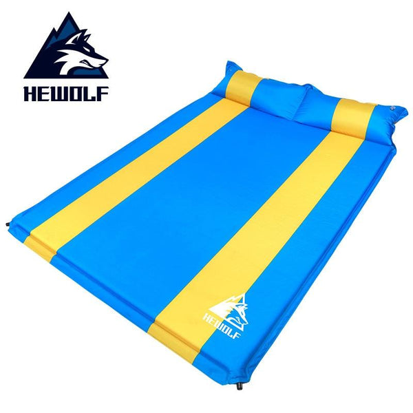 Hewolf 2-3 person 3cm thick widen automatic inflatable cushion camping tent Splicable nap mat outdoor moisture-proof mattress
