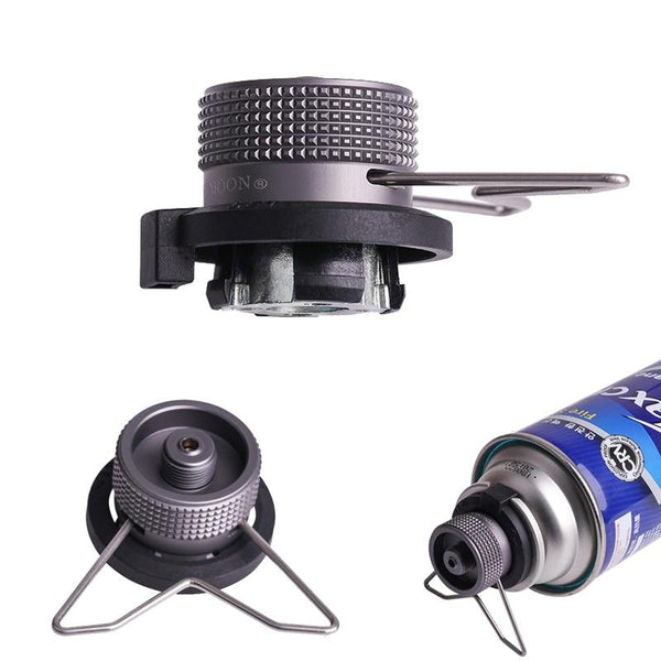 Outdoor Gas Cartridge Head Conversion Adapter Bottle Type Input Screw Valve Output Camping Stove Accessories Cookware Adapter