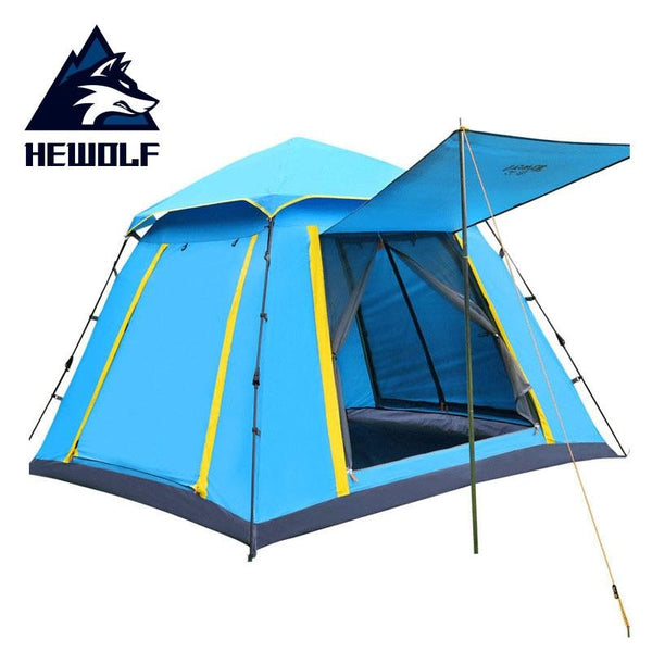 Hewolf Outdoor Tent 3-4 People Fully Automatic Tent Rainproof Square Space  Leisure Camping Beach Tent