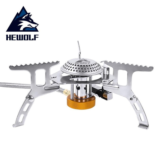 HEWOLF Folding Outdoor Camping Gas Stove Head Hiking Picnic Cooking Portable Stove Head Stainless Steel Cookware Gas Stoves