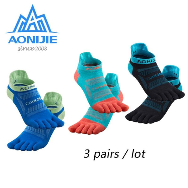 3 Pairs 1 lot AONIJIE E4801 Ultra Run Low Cut Athletic Five Toe Socks Quarter Socks Toesocks For Running Marathon Race Trail