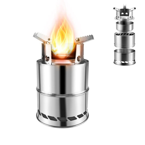 Camping Equipment Wood Stove Portable Gas Stainless Steel Outdoor Cooking Burner Wood Heater Backpacking Furnace Burner Stove