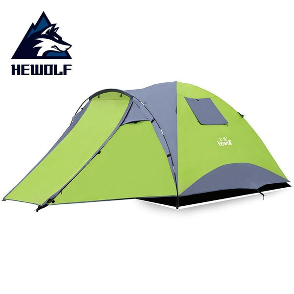 Hewolf Waterproof Tourist Tents 4 Person Outdoor Camping Double Layer One hall one bedroom 3 Seasons Hiking Camping Family Tent