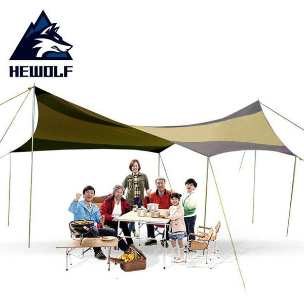 Hewolf Silver Coating Anti UV Sun Shelter 5-10 Person Picnic Beach Tent Pergola Awning Canopy Camping Sunshelter 5x5m