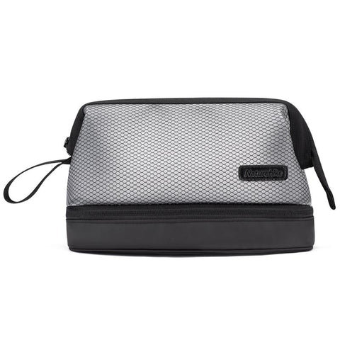 Naturehike High-capacity Double Layer Dry and Wet Separation Wash Bag Travel Supplies Portable Storage Bag TPU Toiletry Bag (Black Color)