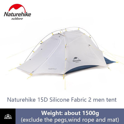 Naturehike 2 Person Camping 15D Double-layer Waterproof Dome Tent Ultralight Rainproof Sunscreen 4 Season Outdoor Portable Tent (White)