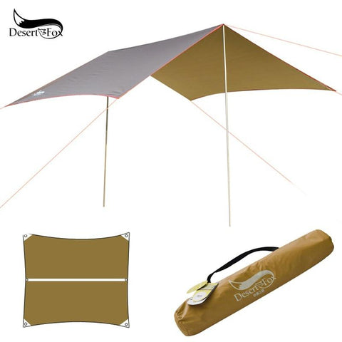 Desert&Fox Waterproof Outdoor Awning Hammock Tarp Rain Fly Lightweight Camping Tent Sun Shelter for Tourism Hiking Beach Pergola