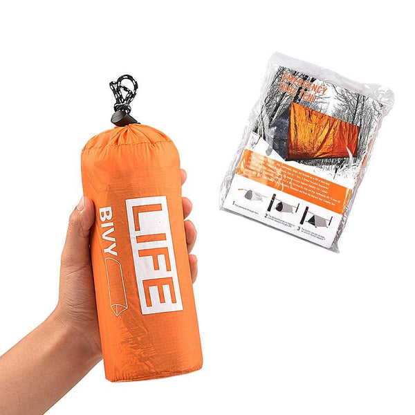 2Person Emergency Shelter Waterproof Thermal Blanket Rescue Survival Kit SOS Sleeping Bag Survival Tube Emergency Tent w Whistle (1 set  survival tent)