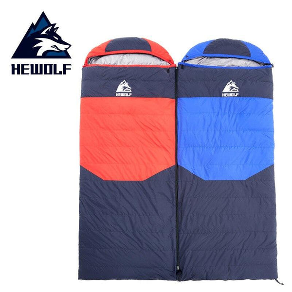 Hewolf Camping Winter Sleeping Bag Envelope Duck Down Thickening Camping Sleeping Bag Splicing Sleeping Bag Winproof Warm Sleep