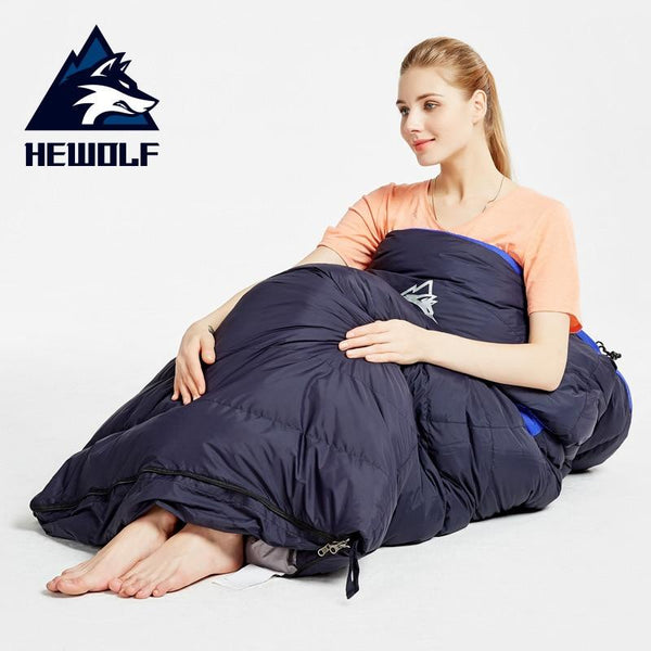 Hewolf Down Sleeping Bag Waterproof Adult Winter Envelope  Duck Down  Sleepings Bag For Backpacking Camping Hiking Splice