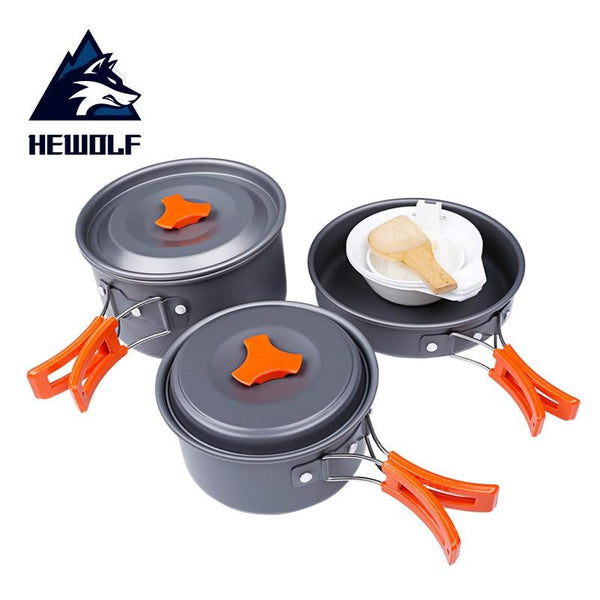 Hewolf Camping Cookware Outdoor Alumina Set Camping Portable Cooking Set Travel Tableware Hiking Picnic Set