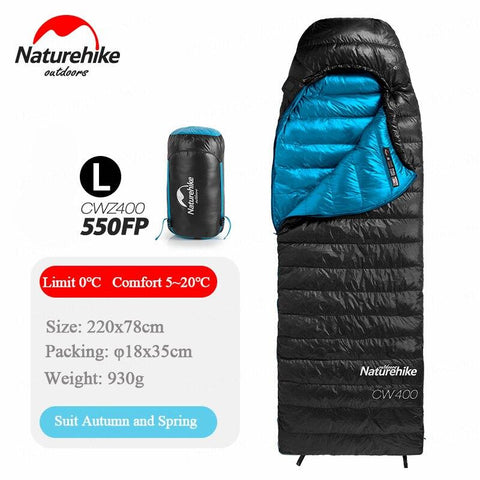 Naturehike 750FP White Goose Down Sleeping bag Envelope Type Super Light and Warm Winter Sleep Bags Come with Compression Sack