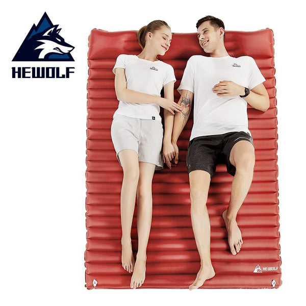 Hewolf Outdoor Inflatable Cushion Moistureproof  Outdoor Hiking  Tent Camping Mats Double Inflatable Bed Mattress