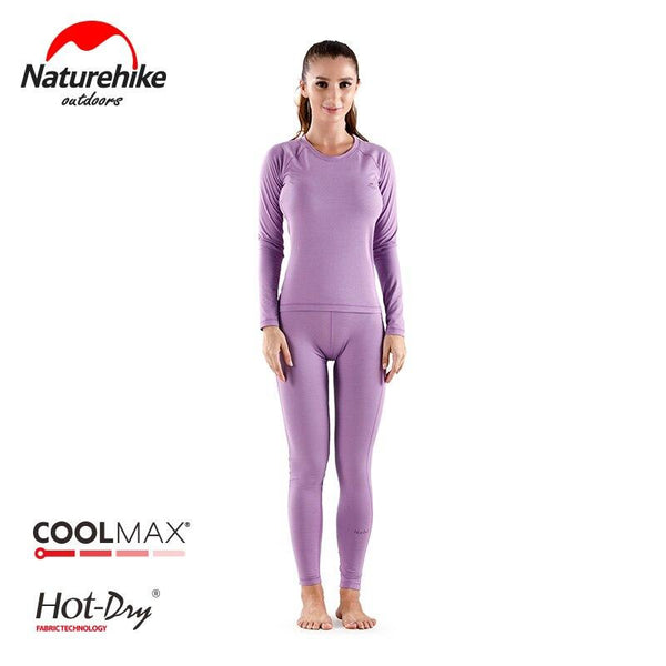 Naturehike Women's Ultra Soft Winter Base Layering Set Microfiber Fleece Thermal Underwear Long Johns Set with Fleece Lined