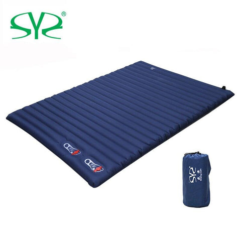 2-3 Person Outdoor cushion Camping Inflatable Sleeping Pad Ultralight Press Type Air Mattress TPU Waterproof Tent Mat (Double Navy 200x135x10cm)