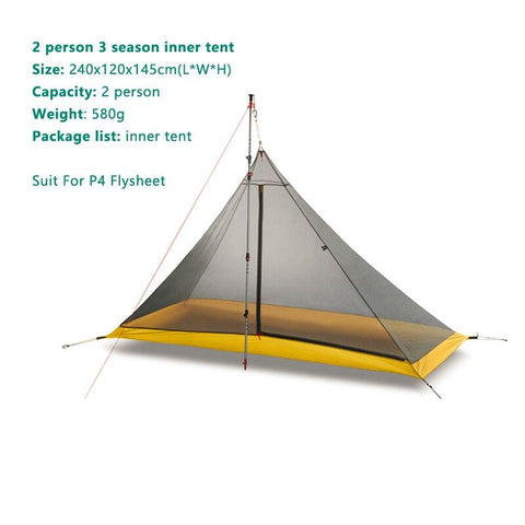 1-10 person Tent Oudoor Ultralight Camping Tent  Professional Double Side Silicone Coated 20dD Silnylon Rodless Tent