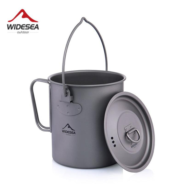 Widesea 750ml Titanium Pot Titanium Water Mug Cup with Lid Foldable Handle Outdoor Camping Cookware Cooking Pots Picnic Hang Pot