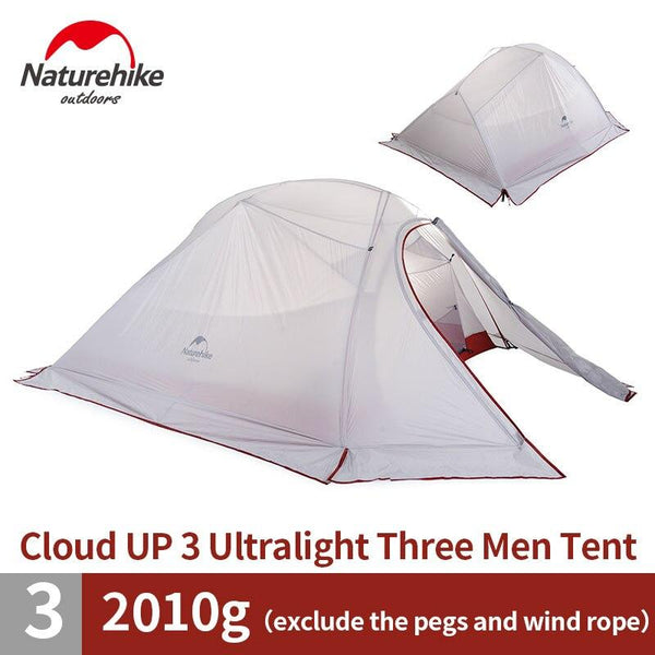 Naturehike Outdoor Tent 3 Person 210T/ 20D Silicone Fabric Double-layer Camping Tent Ultralight Family Tent Aluminum Pole